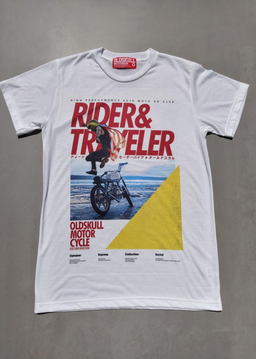 Tee Shirt Oldskull Rider And Traveler.