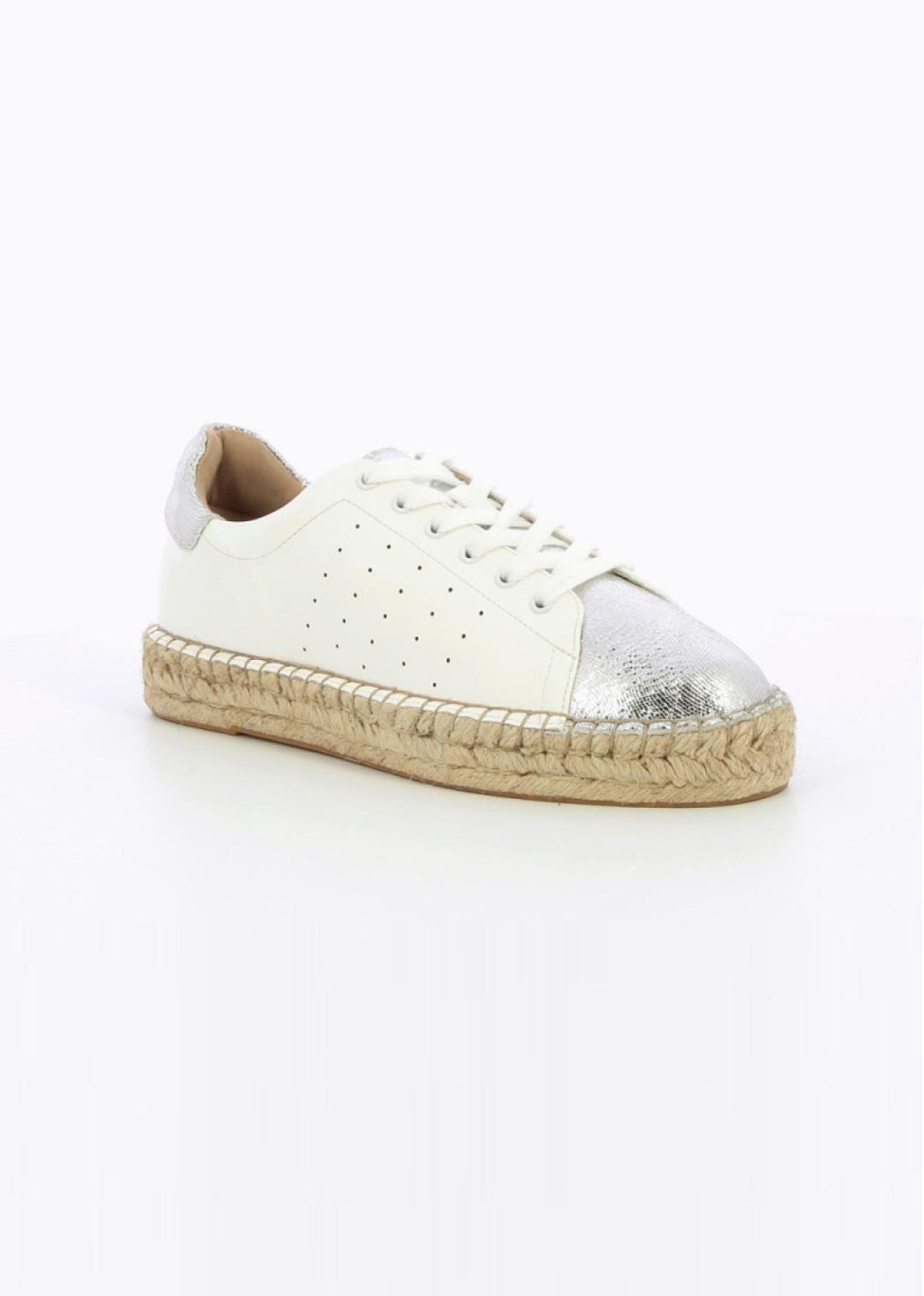 baskets espadrilles blanches & argent.
