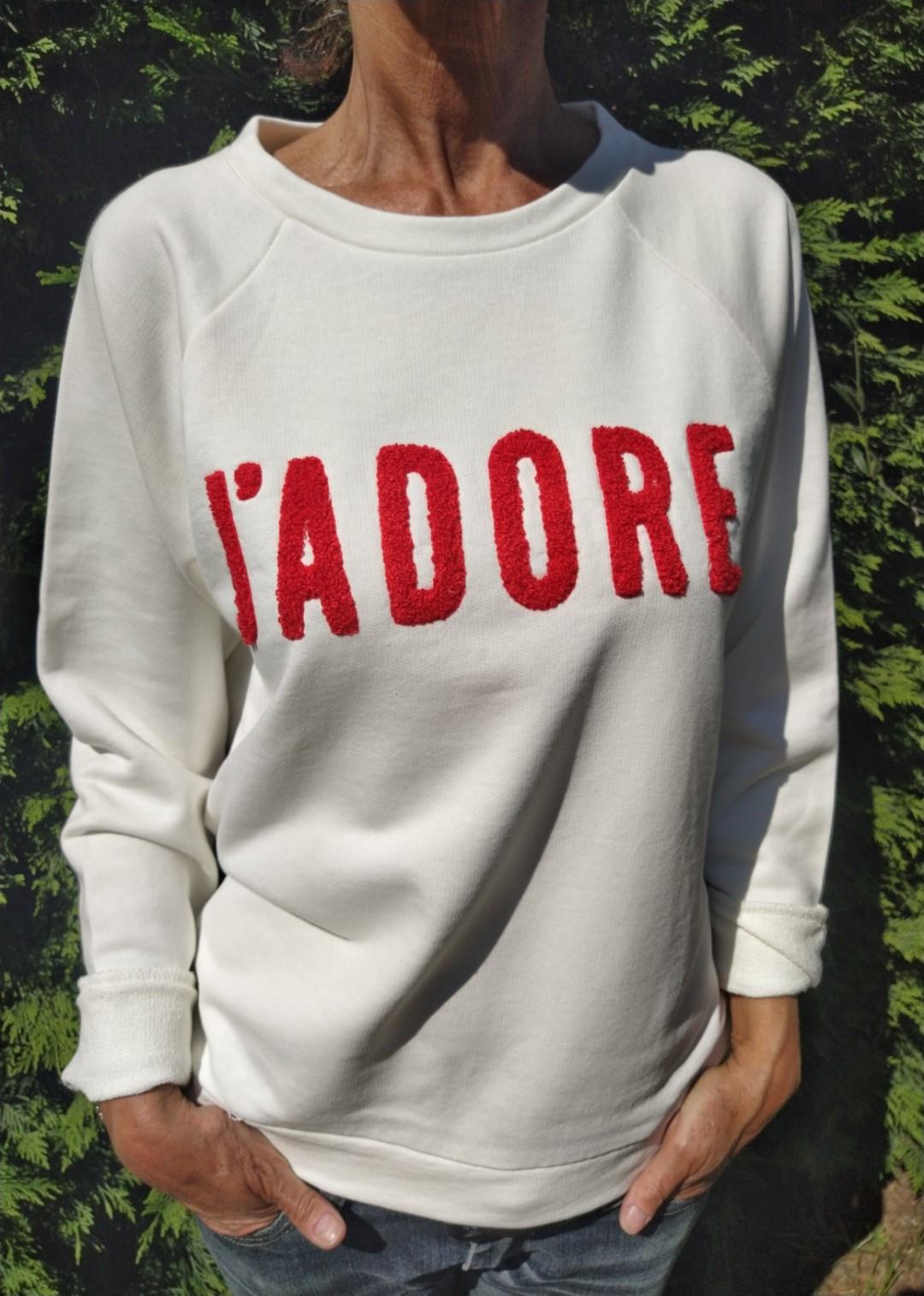 Sweat blanc N°55 J'Adore