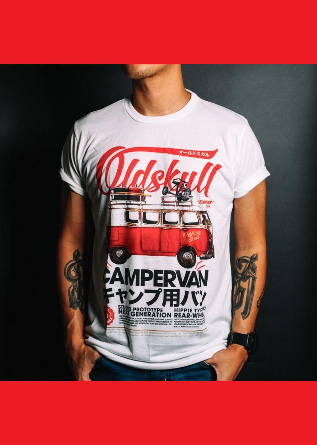 Tee shirt blanc Oldskull Camper van