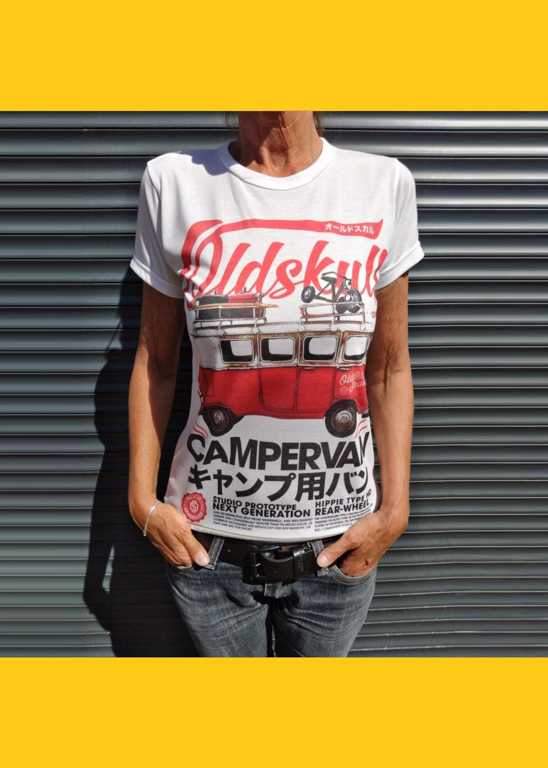 Tee shirt blanc Femme Oldskull Camper van