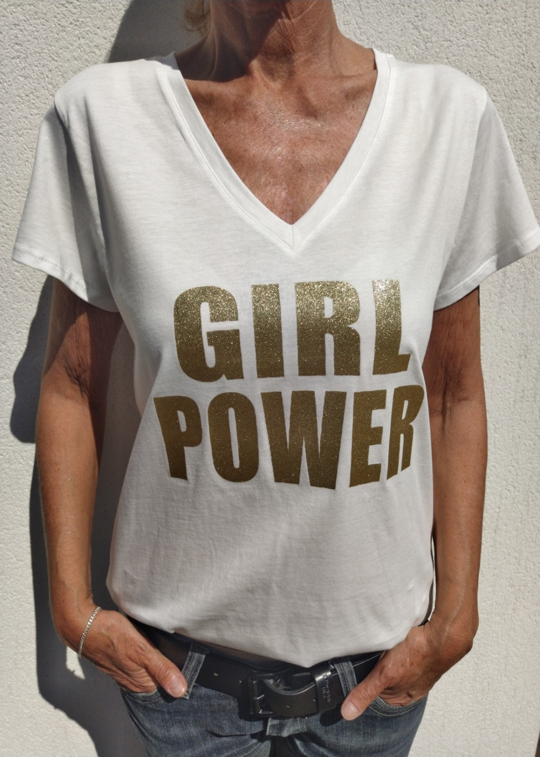 Tee shirt blanc N°55 Girl Power