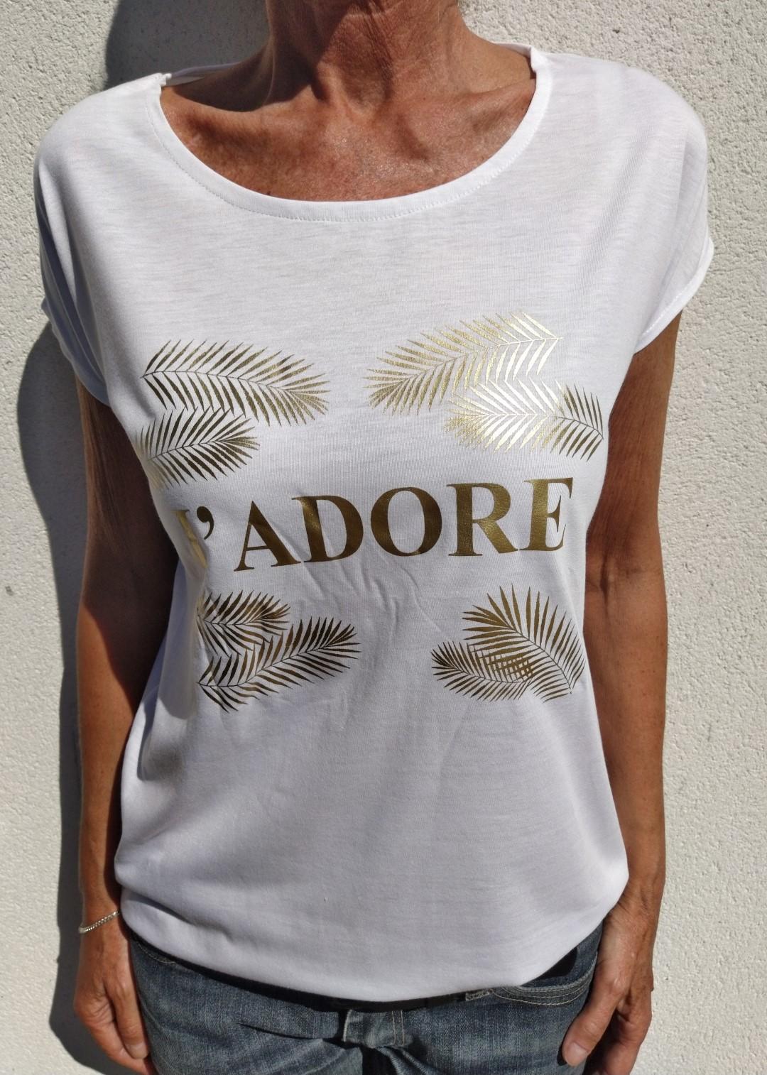 Tee shirt blanc N°55 J'ADORE or