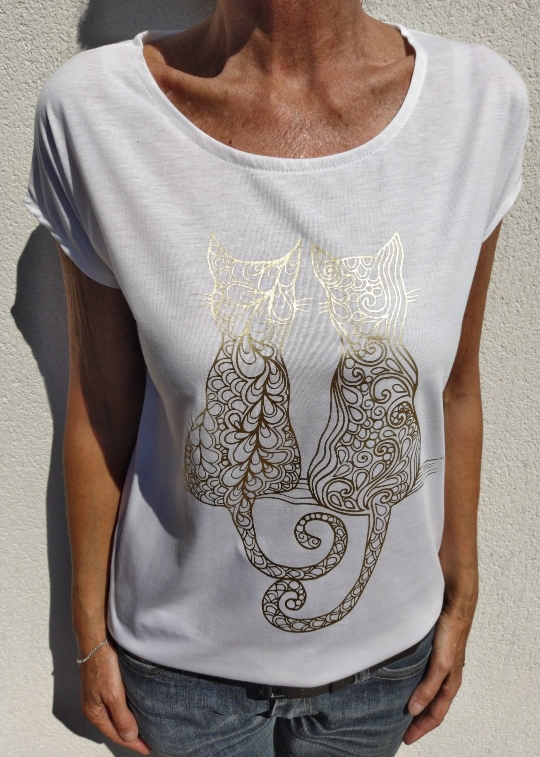 Tee shirt blanc N°55 chat or