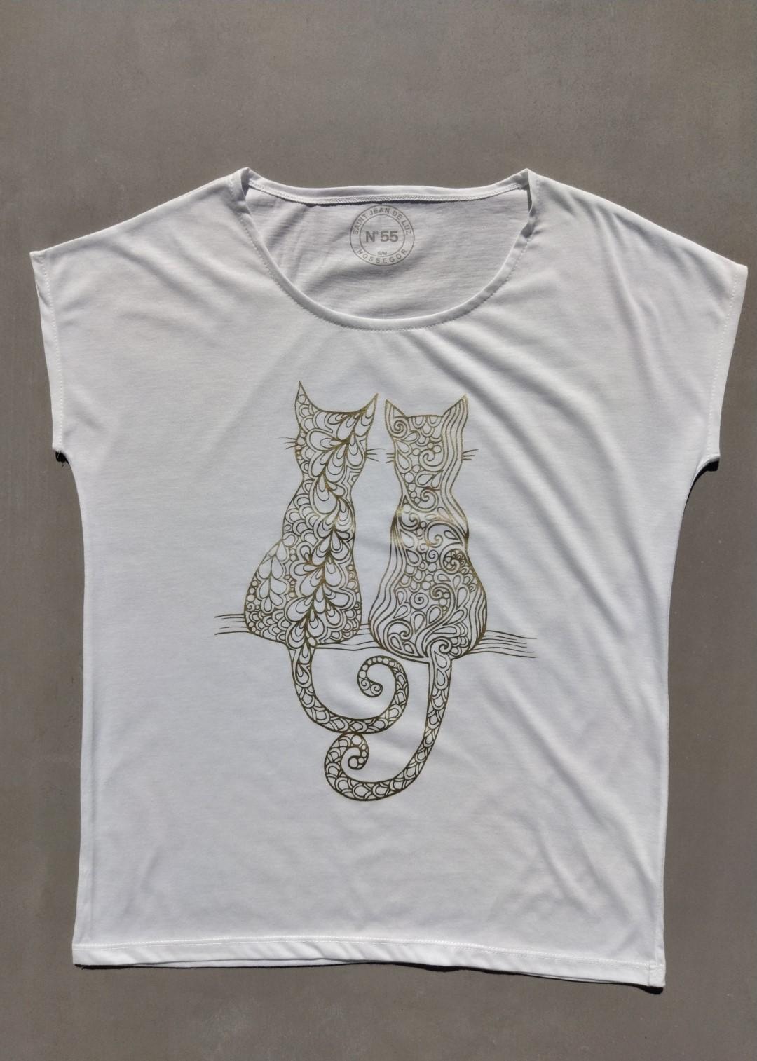 Tee shirt blanc N°55 chats or.