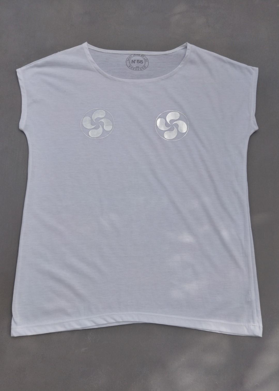 Tee shirt blanc N°55 croixbasques argent.