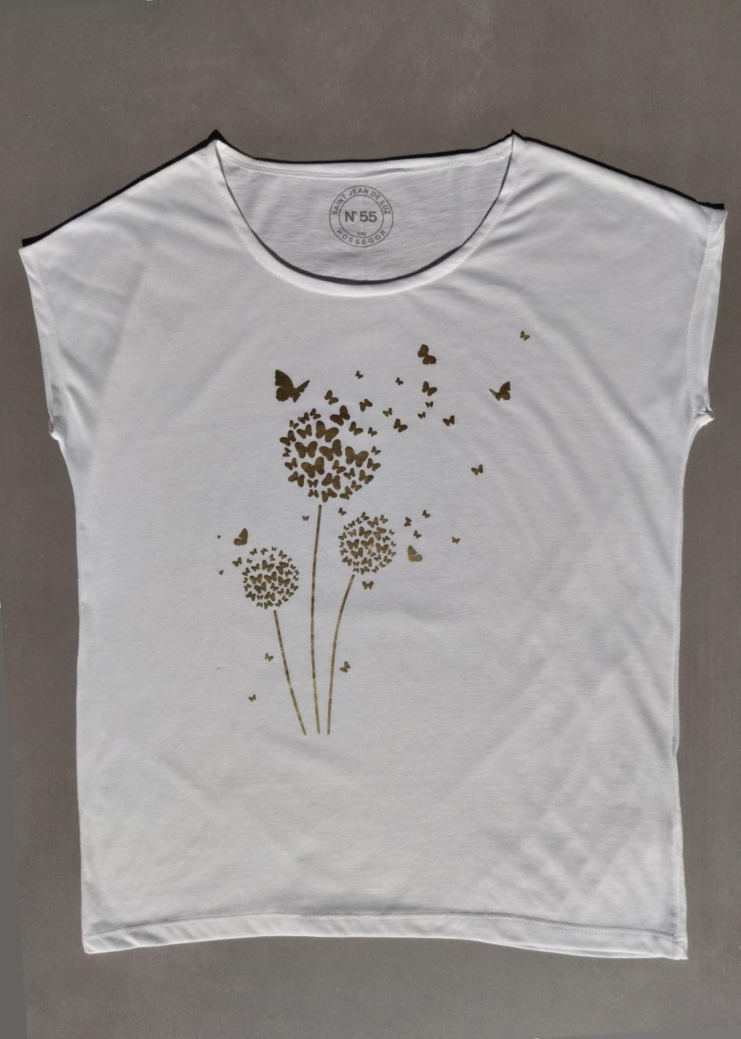 Tee shirt blanc N°55 fleurs et papillons or.