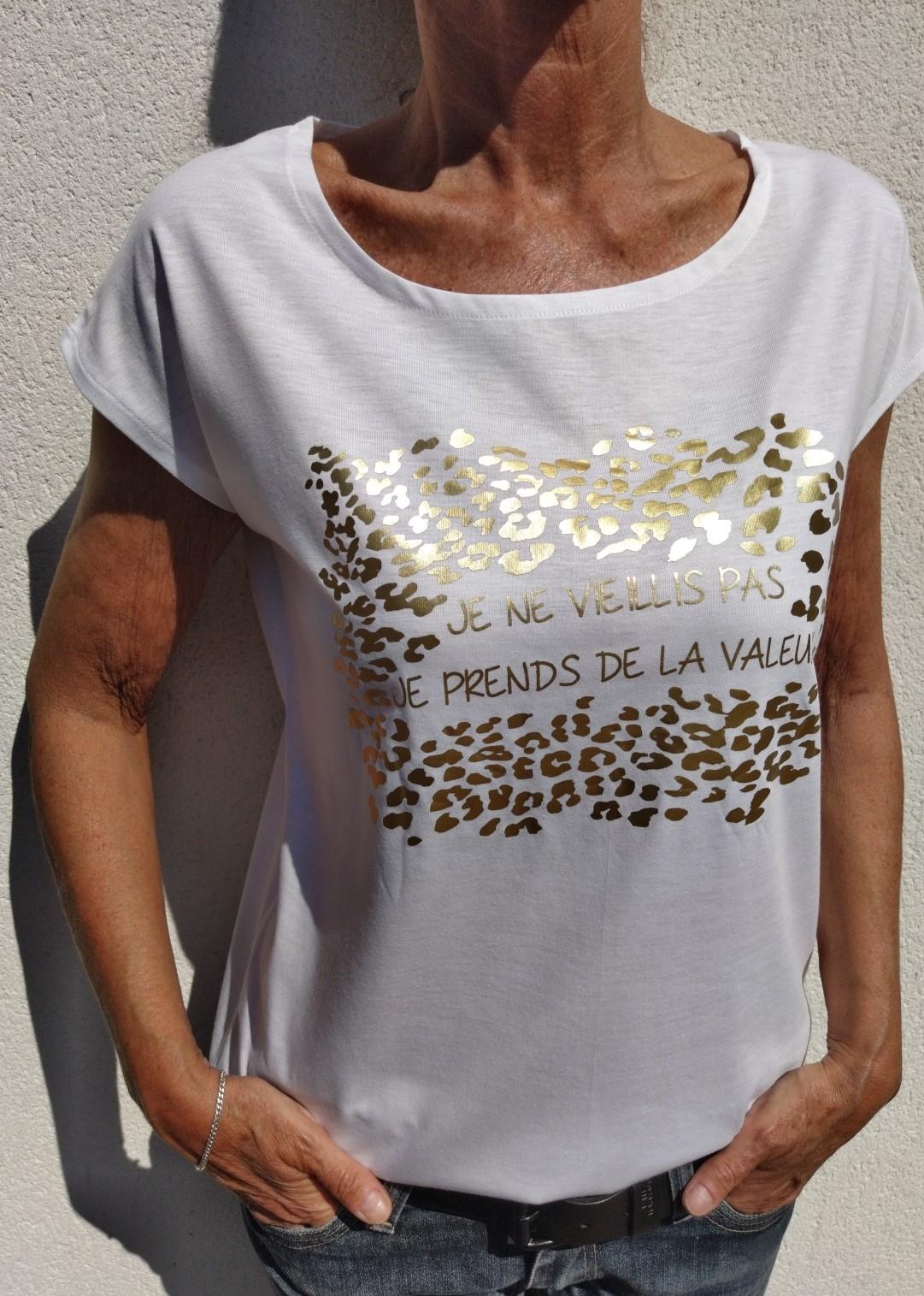 Tee shirt blanc N°55 je ne vieillis pas je prends de la valeur