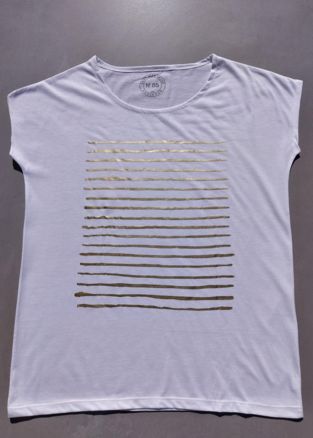Tee shirt blanc N°55 marinière or.