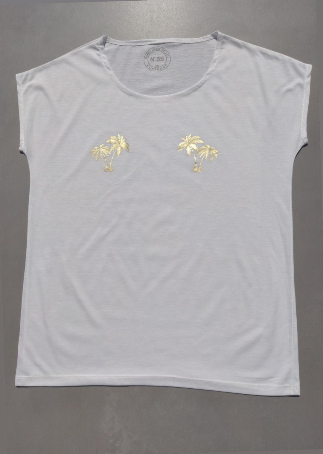 Tee shirt blanc N°55 palmiers or.