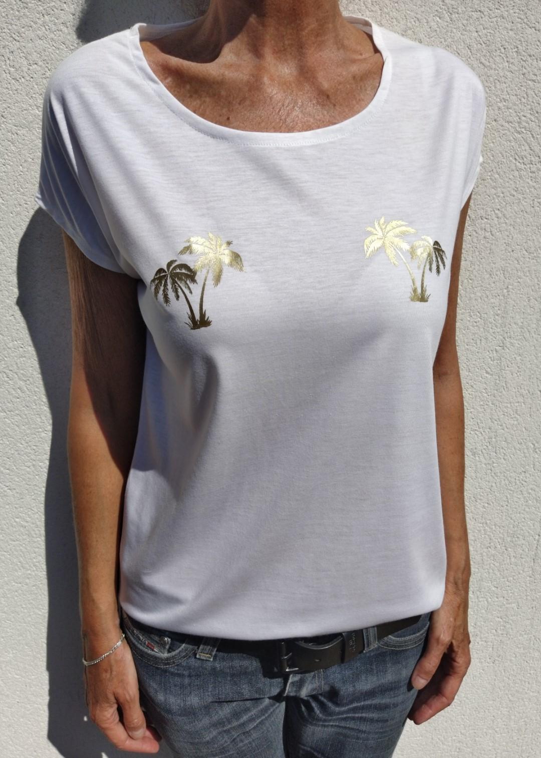 Tee shirt blanc N°55 palmiers or