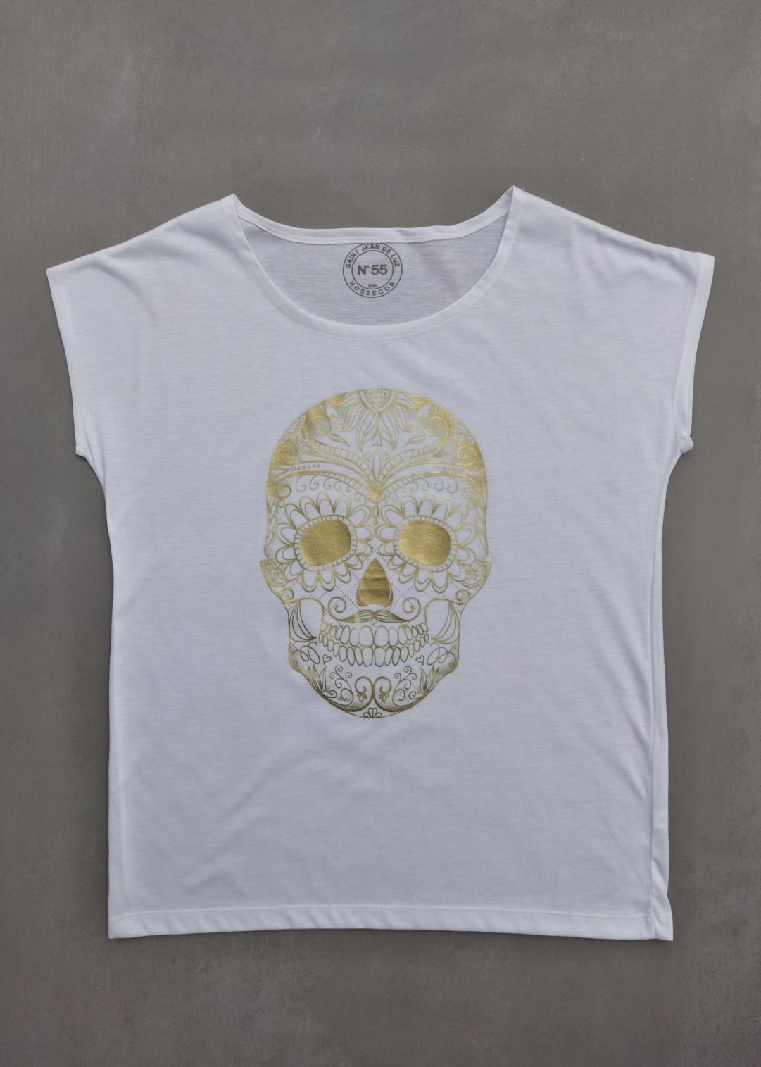Tee shirt blanc N°55 skull or.