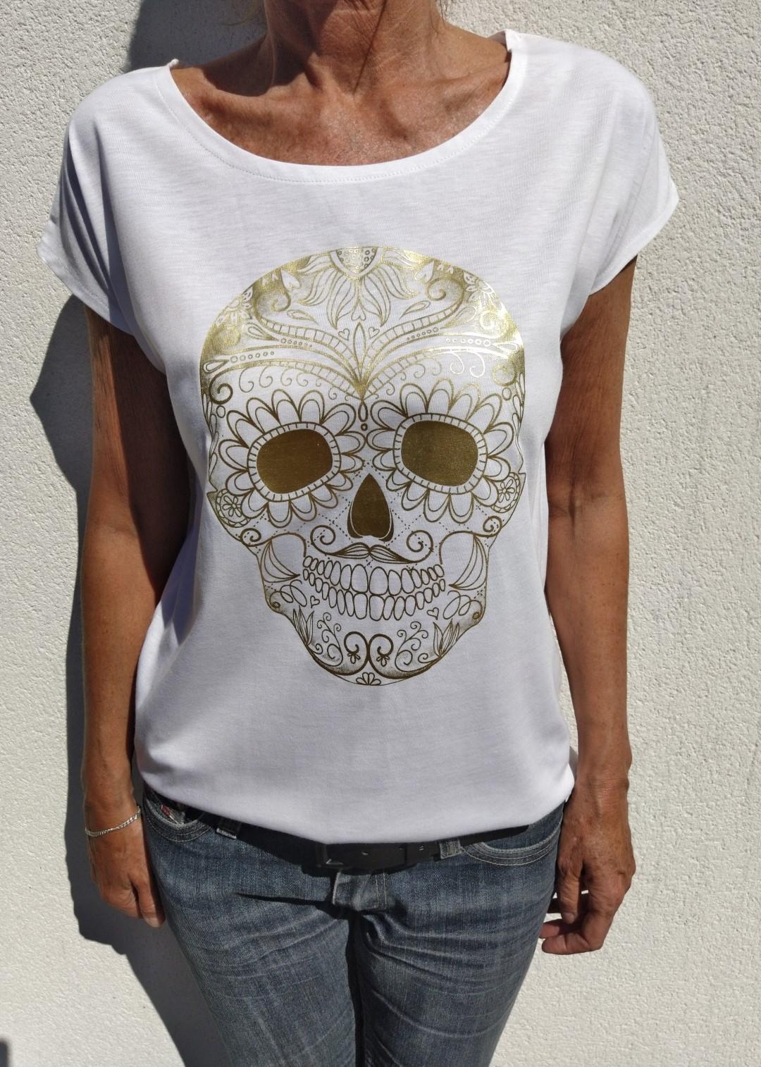 Tee shirt blanc N°55 skull or