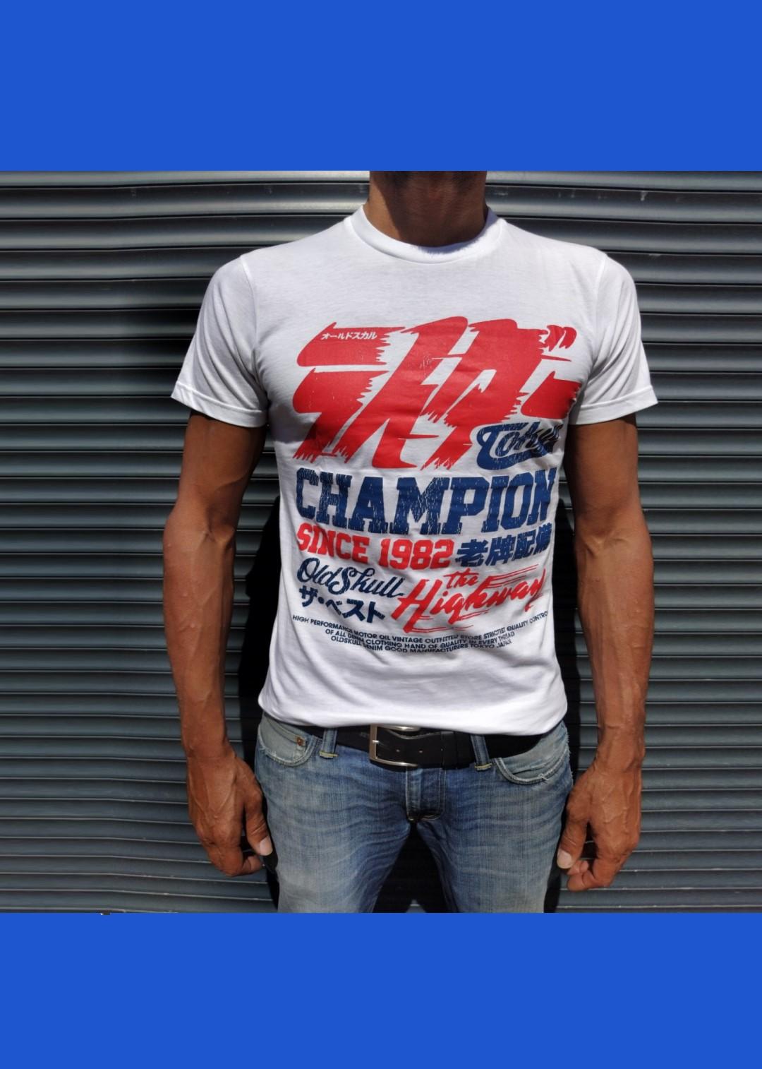 Tee shirt blanc Oldskull Champion Tokyo