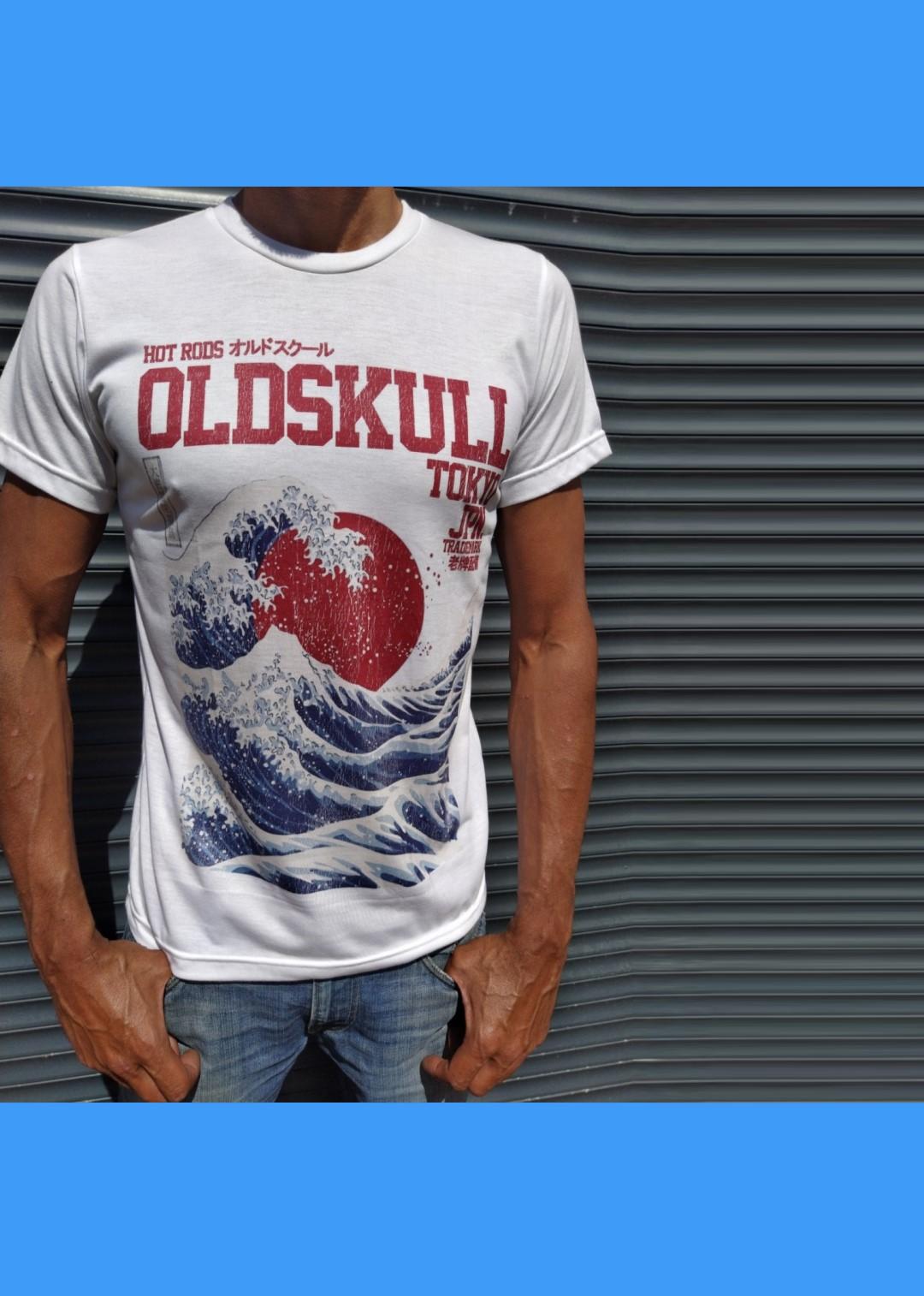 Tee shirt blanc Oldskull La Grande Vague de Kanagawa
