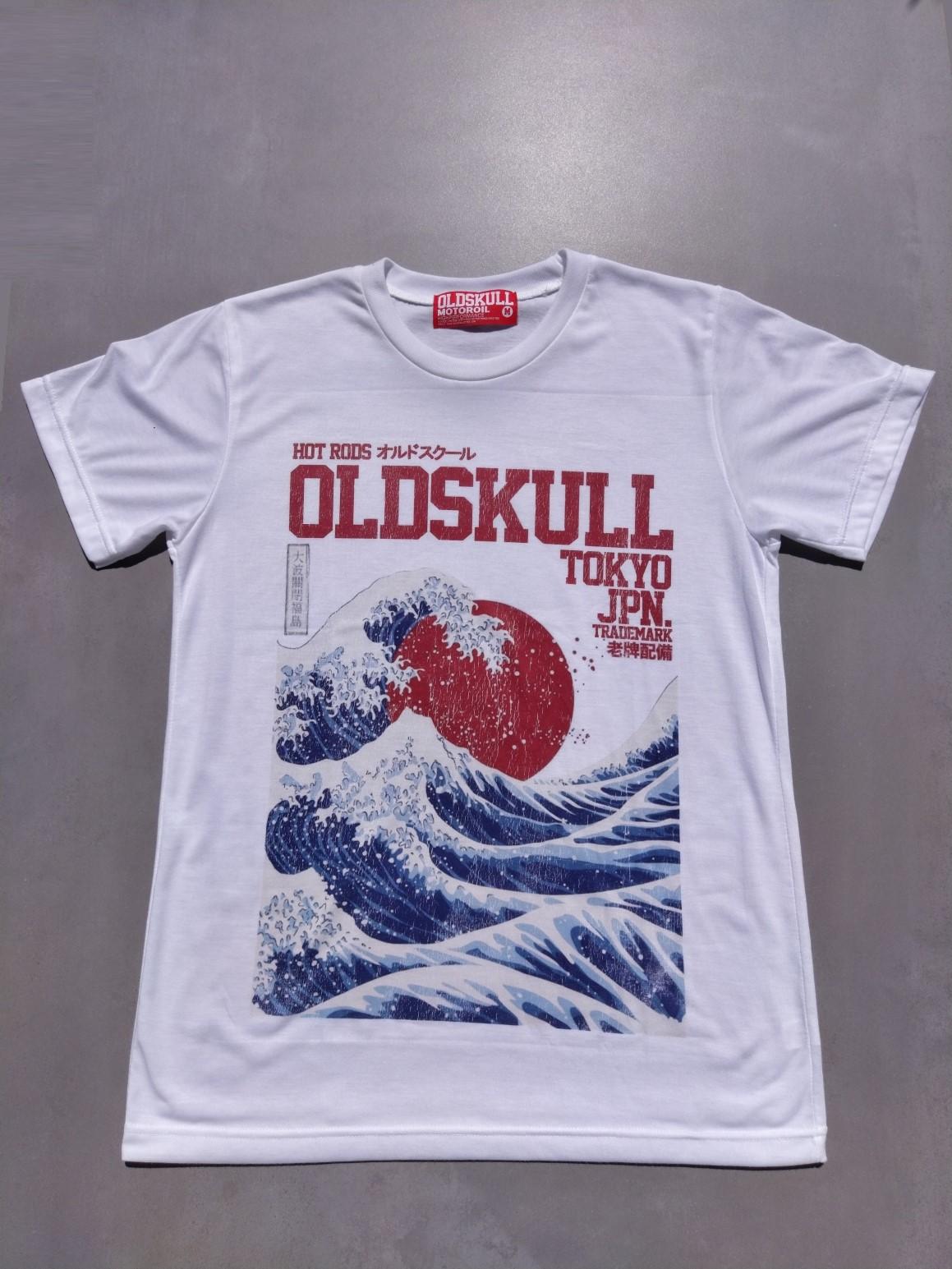Tee shirt blanc Oldskull La Grande Vague de Kanagawa.