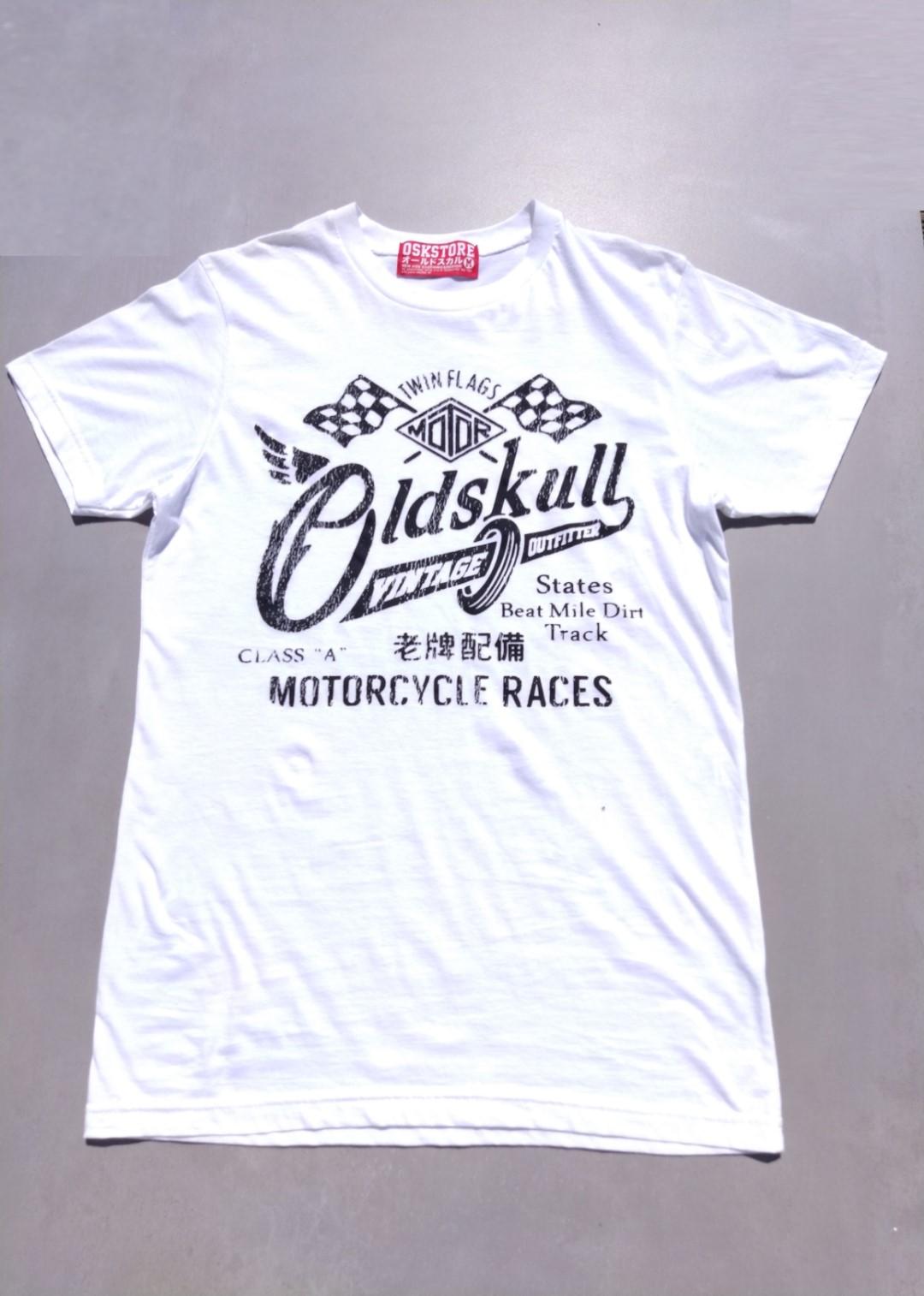 Tee shirt blanc Oldskull Motorcycle races vintage.