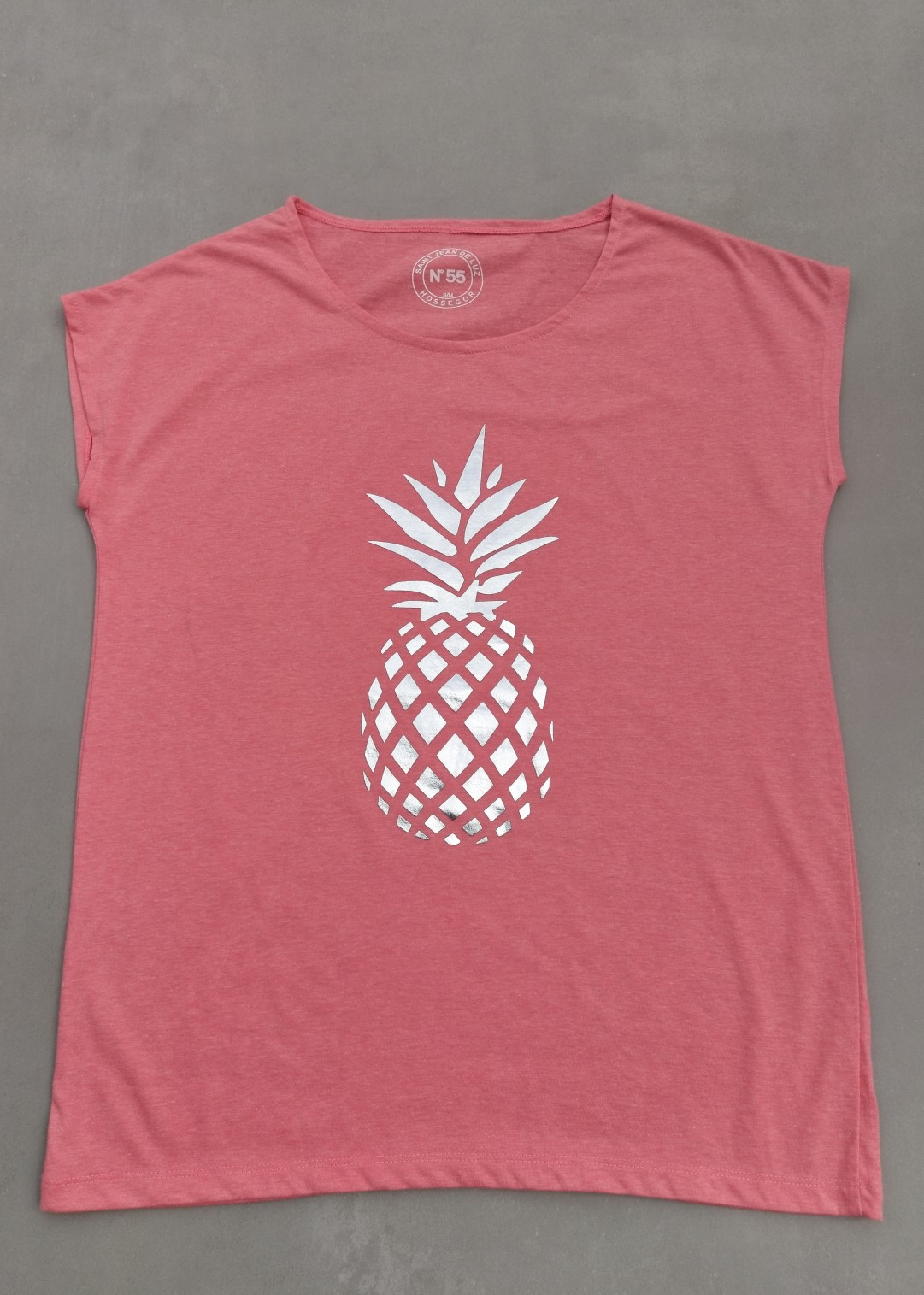 Tee shirt corail N°55 Ananas argent.