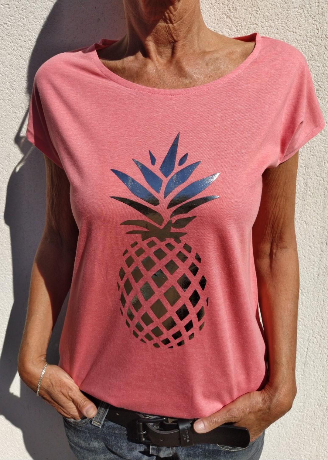 Tee shirt corail N°55 Ananas argent
