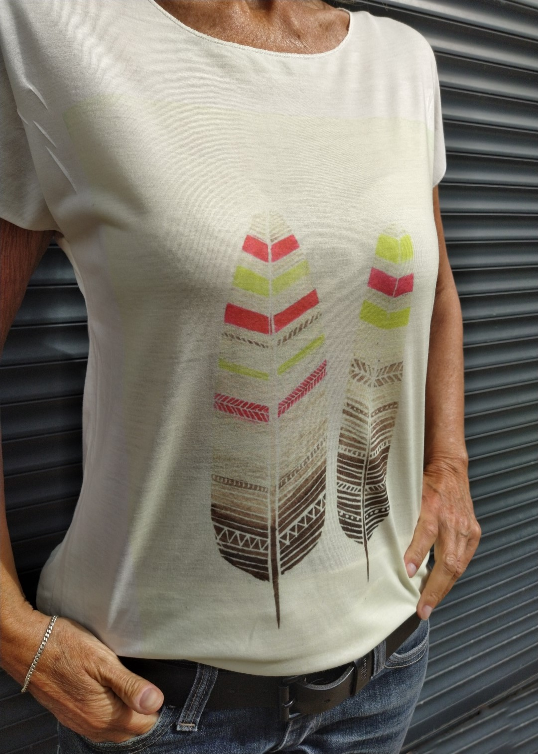 Tee shirt naturel N°55 2 plumes.