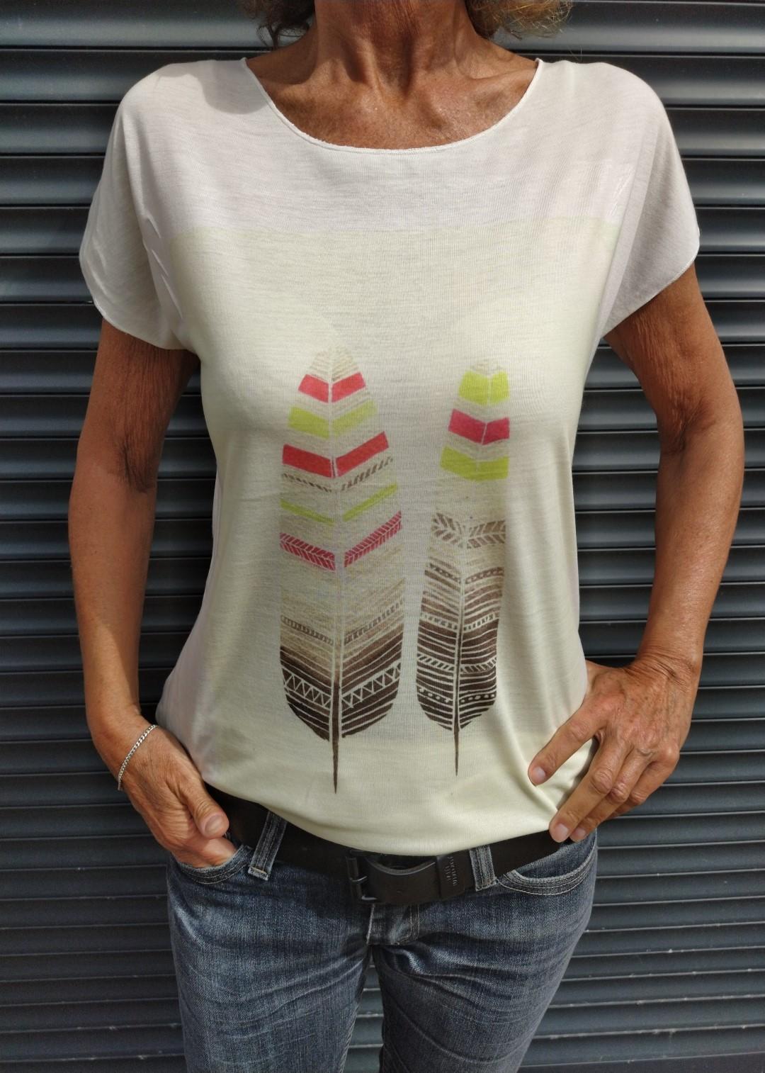 Tee shirt naturel N°55 2 plumes