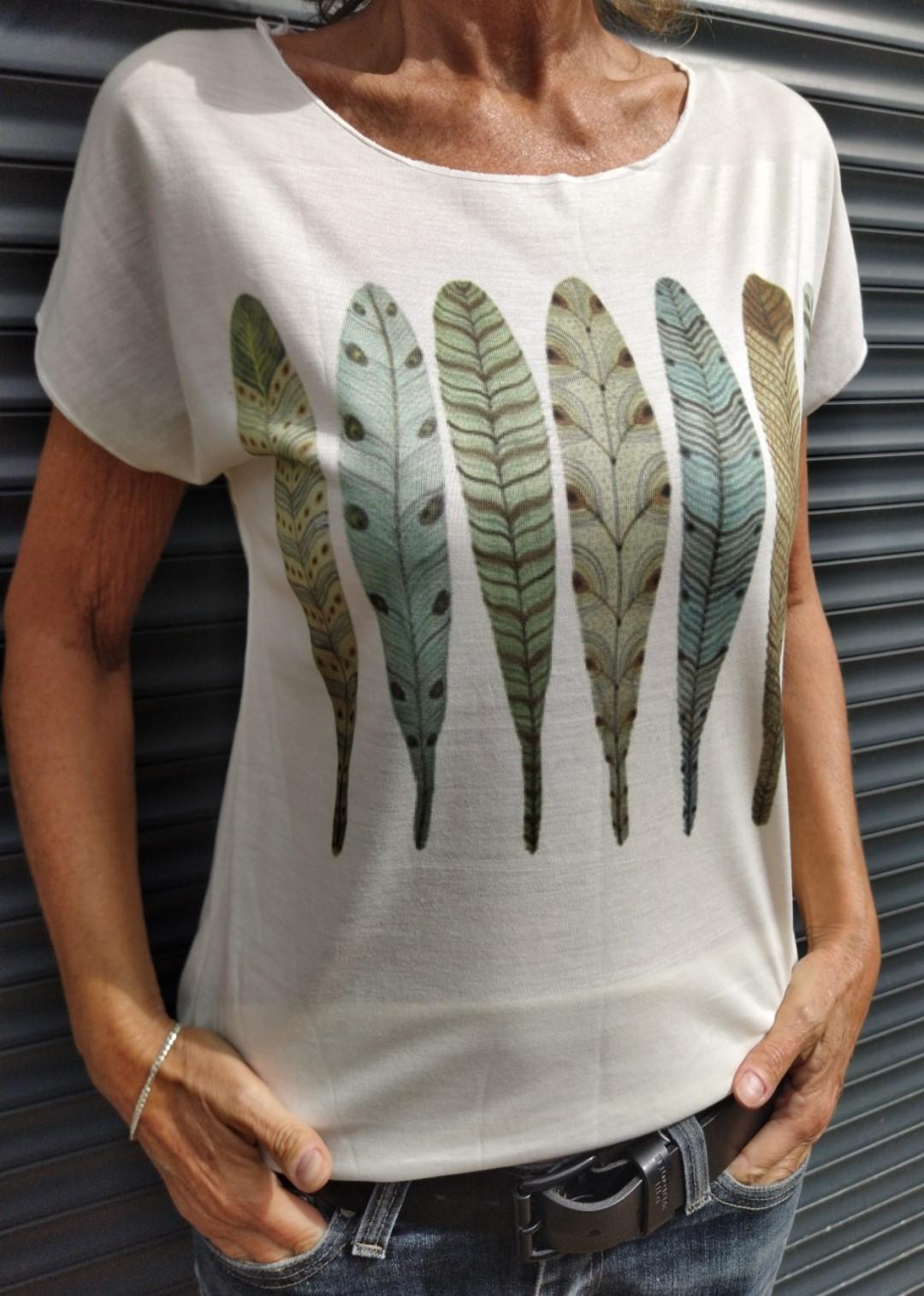 Tee shirt naturel N°55 7 plumes