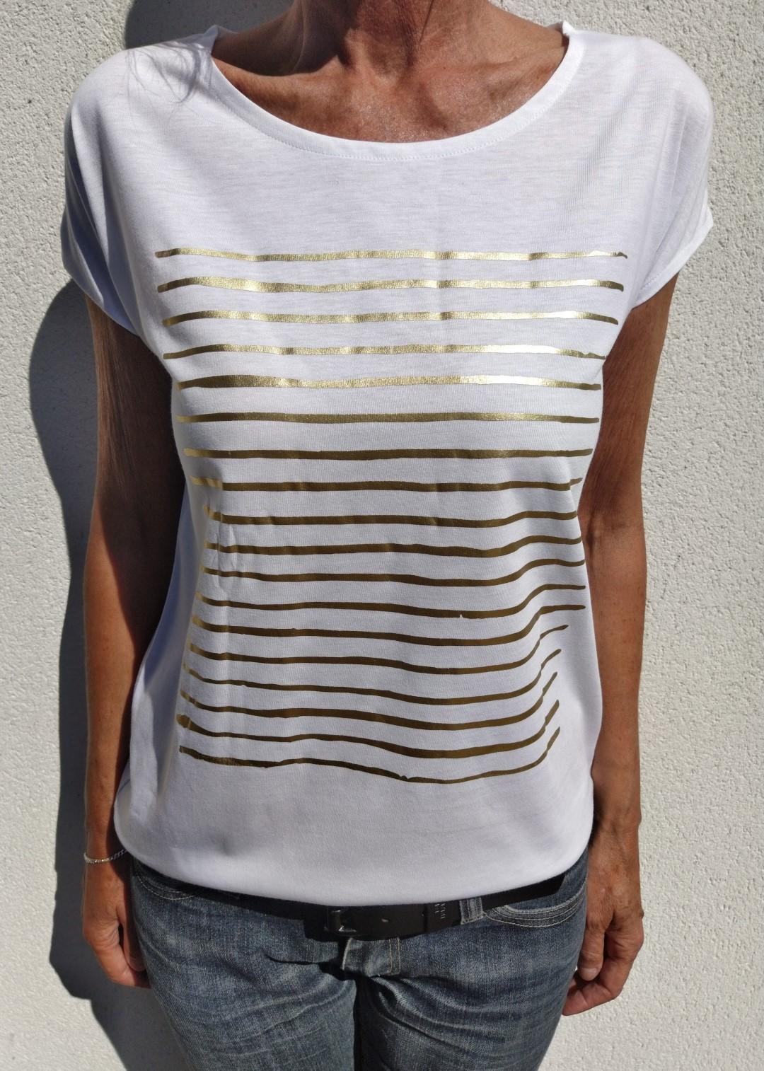 tee shirt blanc N°55 marinière or